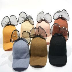 Nova chegada Design Personalizado Girl Princess Contratante Pearl Lace Bowknot Baseball Hat Sol de Verão Hat Cap