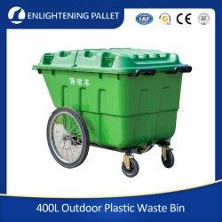 400L Grand bac de recyclage des déchets de plastique de plein air avec des roues