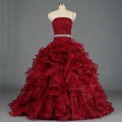 Women's jolie robe de bal Quinceanera volant Parti de la prom robes de soirée E378