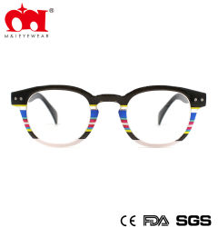Novos óculos de leitura redondo de plástico com listra colorida (WRP802021)