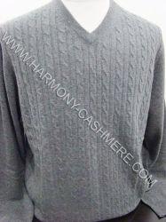 Suéter del V-Cuello de la cachemira con el cable