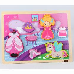 Pädagogische hölzerne Spielzeug-hölzerne Baby-Spiel-Großhandelsmatten-kundenspezifische Spiel-Spielwaren für Puzzle-super grosse Prinzessin Dress Puzzle