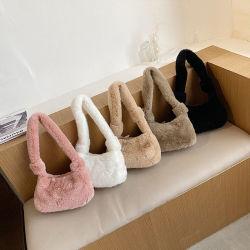 La moda All-Match Furry Dumpling Bolsos con bandoleras mujer bolsos de la axila de peluche
