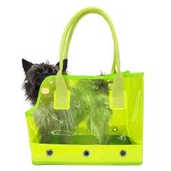 La fluorescencia de PVC colorido exterior transparente portador de la Mascota Puppy Kitty Bolso Bolso