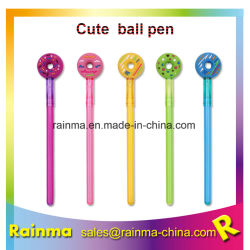 Penna del gel della penna del regalo della ciambella della novità con la parte superiore molle personalizzata del fumetto del PVC 3D per il regalo promozionale della cancelleria dei bambini