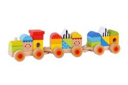 나무판타구이 육열차와 다양한 색상의 아기 나무 블록