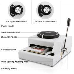 Máquina de relevos Embosser Bestequip ID de crédito cartão de PVC 72 caracteres Gofragem Manual da Máquina
