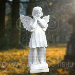 Granieten Tombstone Monument Marble Praying Angel Kind Beeldhouwwerk Standbeeld