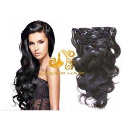 """1b de la onda de cuerpo negro off 8""""-30"""" Remy derechos Clip Cabello brasileño Hair Extension en stock"""