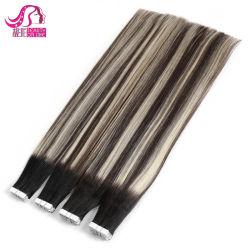 100% brésilien Cheveux humains extensions de bande Remy Strong Ruban adhésif dentelle bleu 20pcs/ensemble de la bande dans la peau sèche de PU de trame
