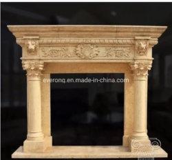 La decoración de interiores de piedra de granito escultura chimenea de mármol de León manto/Excelente casa de los animales tallados decorativos interiores chimenea de mármol de cabeza de león