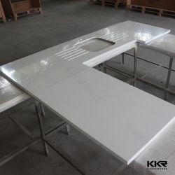 Pierre artificielle de la résine de comptoir en marbre Calcatta Quartz Corian Surface solide Comptoir de cuisine