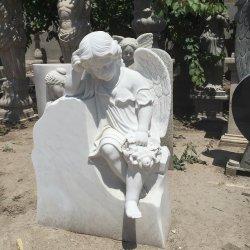 Het witte Marmeren Standbeeld van de Grafsteen van de Grafsteen van het Monument van het Beeldhouwwerk van de Engel