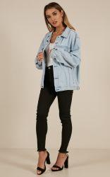 Sade superdimensionada jaqueta de denim em azul claro