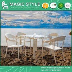 屋外の食事の一定のホテルのプロジェクトの籐椅子のスタック可能椅子の藤の椅子のテラスのダイニングテーブル(魔法様式)