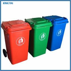 Jardin écologique poubelle 100L Poubelle poubelle en plastique de plein air avec des roues