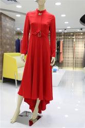Soem-rote neue Form-beiläufige lange Hülsen-Kleid-Frauen-Blusen 2019