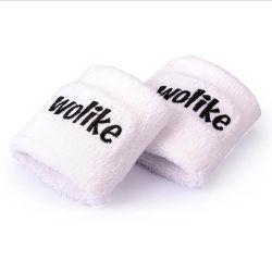 O desporto promocionais Cotton White Pulseira com logotipo Bordado