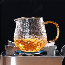 Fabricação de vidro borossilicato transparente bule de 500ml chávena de chá de vidro resistente ao calor caneca com pega