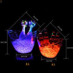 Nachladbare Champagne-Acrylplastik-LED beleuchtete geleuchtete Kühlvorrichtung