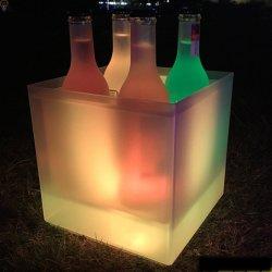 Cubeta de hielo de LED de colores acrílicos cubo de hielo