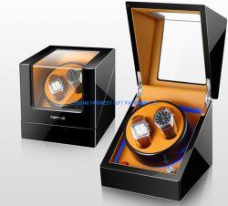 Boîte en bois de luxe Watch Watch de l'enrouleur avec moteur de la bonne peinture minuscule à l'intérieur en cuir de gros de mousse