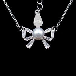 Элегантный дизайн в носовой части узла чистого разорванные Ожерелья с одним Pearl Ювелирные изделия
