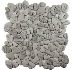 Vidro de cor castanha Pebble Mosaico para fins decorativos Lado a Lado Jardim