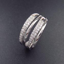 Verlovingsringen van het Huwelijk van de Grootte van CZ van de luxe de Echte Zilveren Grote