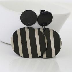 مجوهرات الموضة من الفولاذ المقاوم للصدأ جولة النمط Zebra النساء المحاجر