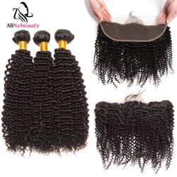 Alinybeauty Venta caliente Hair Extension Kinky Curly paquetes con puntilla de tejido de pelo frontal