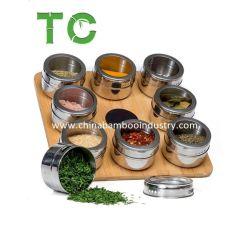Recém-Criada 9 PCS Spice Latas de storage de armazenamento de especiarias Magnético Suporte Magnético Tins Spice Jar definido com base em bambu