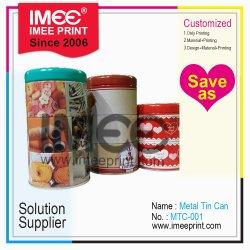 Imee ha personalizzato stagno del biscotto del metallo di strati di stampa di marchio del reticolo di formato di figura il multi con il coperchio