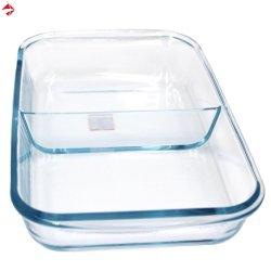 Micro-ondes de forme rectangulaire en verre borosilicaté résistant à la chaleur cuire au four/plaque plat de cuisson