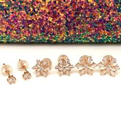 Chapado en oro plata 925 joyas de moda el copo de nieve pendientes para la Mujer
