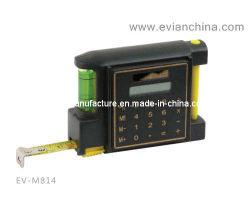 Ruban de mesure en acier avec le niveau, la calculatrice et stylo à bille (EV-M814)