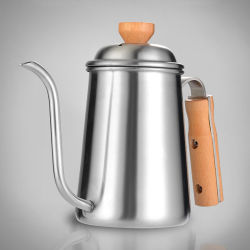 Potenziometer-Edelstahl des Tee-650ml und des Kaffees mit hölzernem Griff