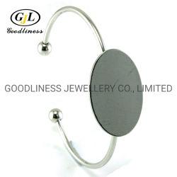 의 간단한 로듐 도금 플레인 925 스털링 실버 디스크 커프 광저우 보석 제조업체(G41332)