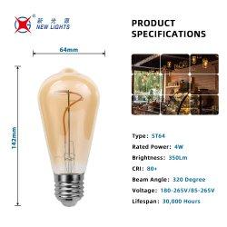 中国メーカーの ST64 E27 LED ライトスパイラルフィラメント LED エネルギー CE RoHS での電球の保存