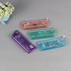 PVC Plastic Cosmetic Bag Customized Quicksand Pencil Bag Cartoon Transparent Custom Quicksand in Oil Pencil Case