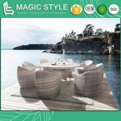 길쌈하는 고정되는 등나무를 식사하는 안뜰 고리버들 세공 세라믹 유리제 옥외 가구 현대 커피 가구를 가진 의자 정원 식탁 식사