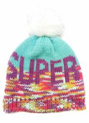 """Winter-warme Form gestrickte """"Super"""" Jacquardwebstuhl-Hut-Schutzkappe des Mädchens mit gefälschtem PelzPompom"""