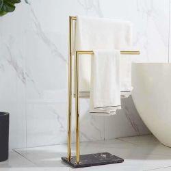 Casa de banho em mármore luxuosa European-Style do chão ao tecto de Toalhas Cabide Double-Layer Double-Bar Bancada de toalha de banho pendente para Rack