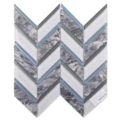 켄트 세라믹 블루 및 화이트 글래스 모자이크 벽 장식 305 * 305 mm