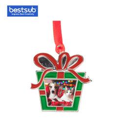 """Regalo promocional de la moda Bestsub sublimación 3"""" del árbol de Navidad Metal Box Orname suministros Decoración"""