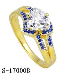 Heart-Shaped 18K 10K or 14K Duo Sillver anneau avec CZ et Gemme bleue