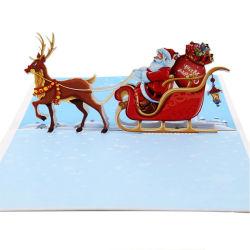 3D 팝업 크리스마스 사슴 손수레는 생일 인사장을 카드에 적는다
