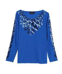 """Senhoras"""" Blue Lantejoulas Bordados Knit Topo"""