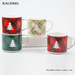Tazón taza de navidad de la placa con la impresión de etiqueta dorada