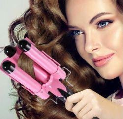 Fer à friser 1 pouces avec écran LCD de l'affichage de température de 3 Barrel Fer à friser les cheveux forme styling Outils Outil de sertissage convient à tous les cheveux